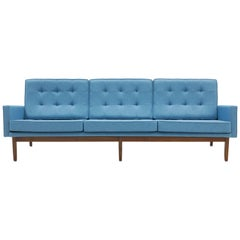 Florence Knoll Three-Seat Sofa Walnut Frame Restored, New Blue Upholstery