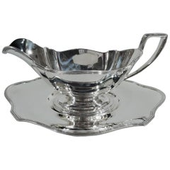 Gorham Sterling Silver Sauce Boat on Stand in Plymouth Pattern