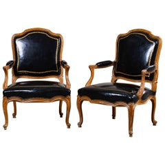 Pair of Vintage Louis XV Walnut Chairs circa 1920 Original Leather Upholstery