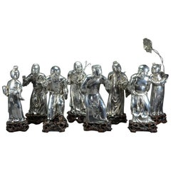 Silver Figures of Eight Immortals Yangqinghe Jiuji Marks, Late Qing Dynasty