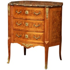 Early 20th Century French Louis XV Walnut Commode Chest with Marble Top