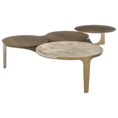 Kosmo Coffee Table, Contemporary Centre Table in Aged Brass, Travertine & Walnut