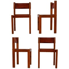 Four Midcentury Wood and Leather Dining Chairs in the Style of Pierre Chapo
