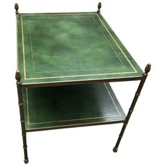 Rich Baguès Style Two-Tier Tooled Leather and Brass Side Table