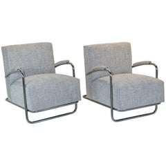 Louis Sognot Chrome Lounge Chairs