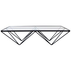 Black Steel and Glass Coffee Table in The Style of Paolo Piva Alanda Table
