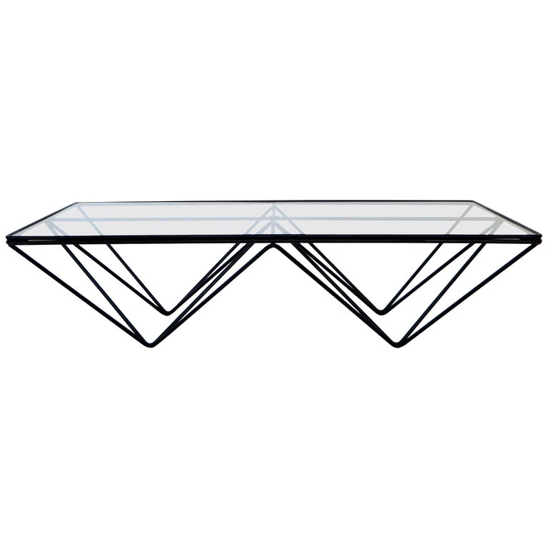 Black Steel and Glass Coffee Table in The Style of Paolo Piva Alanda Table  For Sale