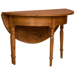 Antique Danish Round Pine Drop Leaf Game Table