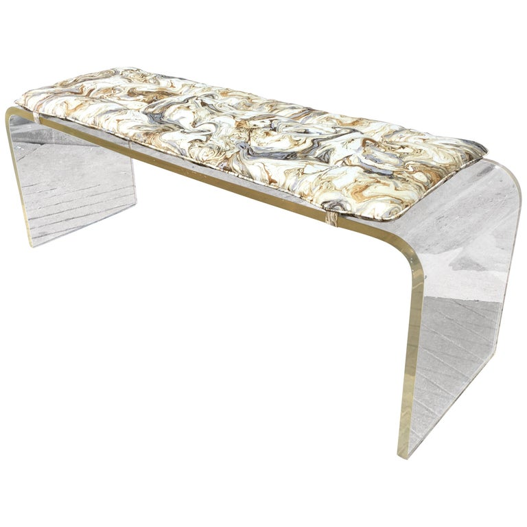 Lucite Bench or Coffee Table in the Style of Charles Hollis Jones For Sale