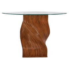 Walnut Stained Mid-Century Modern Dark Bamboo Spiral & Round Glass Dining Table
