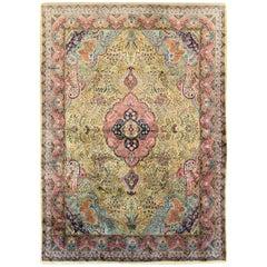 Vintage Persian Qum Silk Carpet