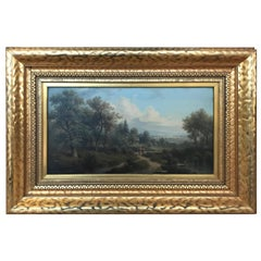 Antique Oil Painting on Board Artist SIgned Original Frame