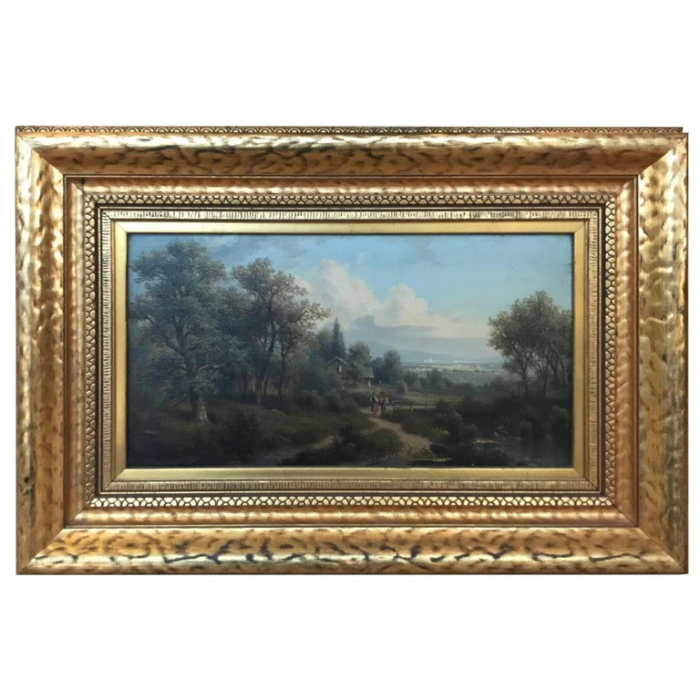 Antique Oil Painting on Board Artist SIgned Original Frame