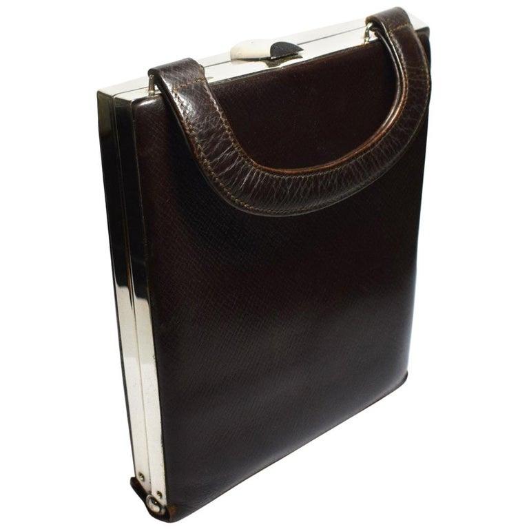 Art Deco Brown Leather and Chrome Box Bag