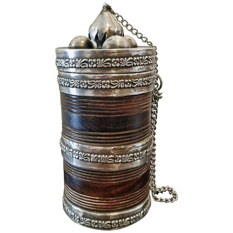 19th Century Anglo-Indian Spice or Tea Caddy with Silver Mounts For Sale