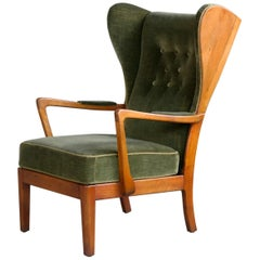 Danish Modern 1950s Highback Lounge Wing Chair Attributed to Fritz Hansen
