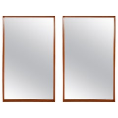 Pair of Mid-Century Modern Danish Teak Framed Wall Mirrors by Pedersen & Hansen