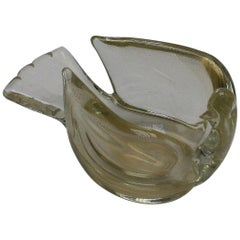 Murano Glass Dove Bowl with Gold Flecks, circa 1950