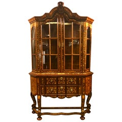 18th Century Baroque Cabinet with Vitrine, Holland, 1770-1780