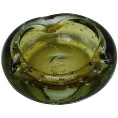 Murano Glass Bowl with Bubble Inclusions, circa 1970