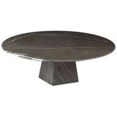 Cosmo, Contemporary Round Marble Coffee Table in Graphite