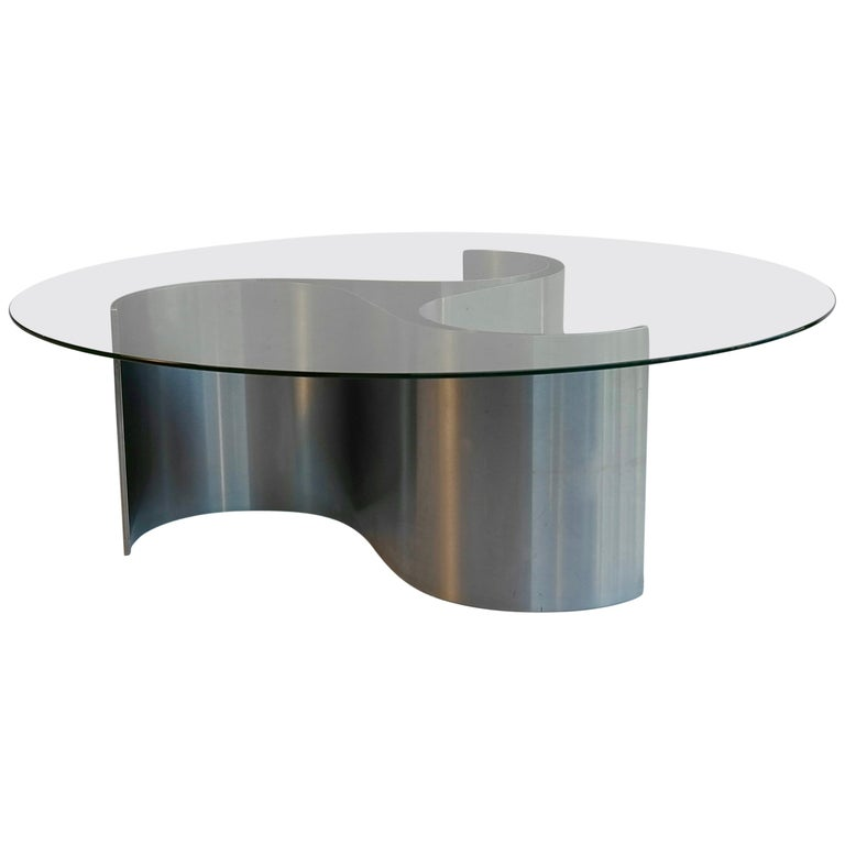 Sculptural Coffee Table in Glass and Steel by Patrice Maffei, France, 1970s