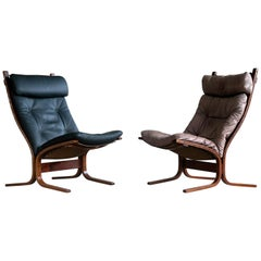"Pair of Leather Easy Chairs Model ""Siesta"" by Ingmar Relling for Westnofa"
