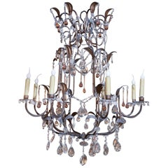 Eight Light Whimsical Crystal Chandelier with Leaves and Amber Droplets
