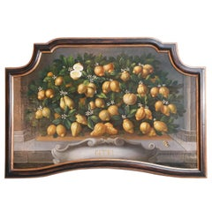 Medici-Style Painting of Lemons on Branches on Panel