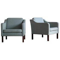 Børge Mogensen Model 2421 Style Danish Lounge Chairs in Cornflower Blue Wool
