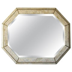 Tessellated Coral and Brass Octagon Mirror by Maitland-Smith, 1980s