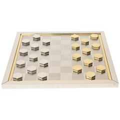 Italian Signed Vintage Romeo Rega Brass and Chrome Plated Checkers Game