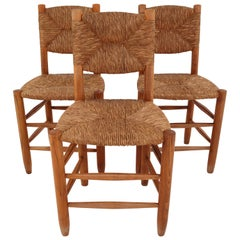 """Three """"Bauche"""" Chairs by Charlotte Perriand for Steph Simon, France 1950s"""