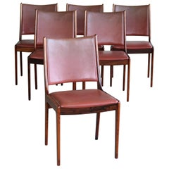 Set of Six Danish Dining Chairs in Rosewood and Leather by Johannes Andersen