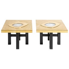 Willy Daro Pair of Etched Brass and Inset Agate End Tables, Belgium, 1970s