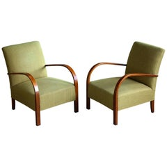 Pair of Early Midcentury Danish Art Deco Low Lounge Chairs