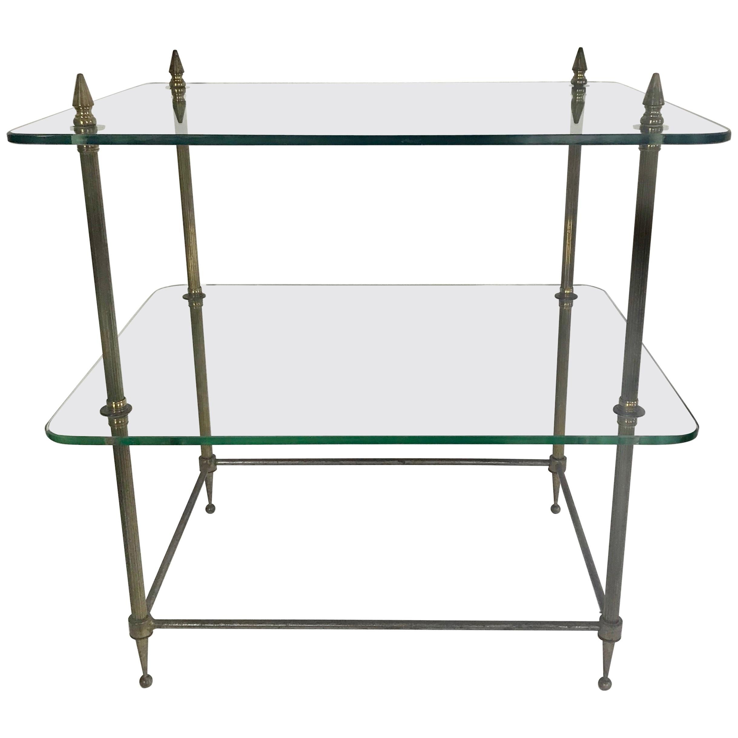 Two Tiered Glass And Brass Side Table From France