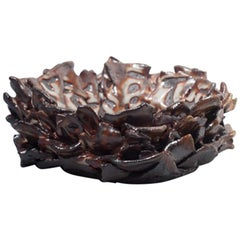 Handbuilt Decorative Bowl Wood-Fired Glazed Stoneware Ceramic