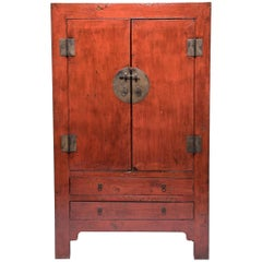 Chinese Tall Lacquered Dowry Cabinet