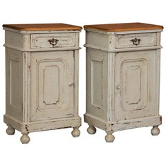 Pair of Antique Gray Painted Danish Nightstands