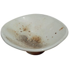 Decorative Pedestal Bowl, Hand-Built Wood-Fired Stoneware