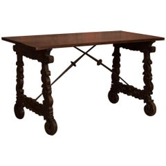 Antique Spanish Walnut Table/Writing Desk