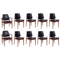 Ten Arne Hovmand Olsen Teak Seven Brass Dining Chairs
