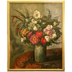 Original Louis Ritman Impressionist Still Life Oil Painting of Flowers in a Vase