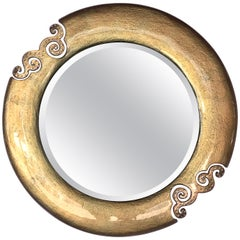 Italian Gold Glass Mirror with Swarovski Strass Crystals