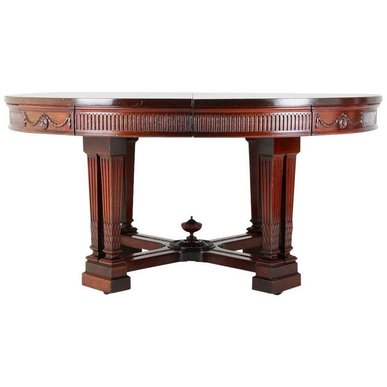 American Solid Mahogany Round Extending Dining Table