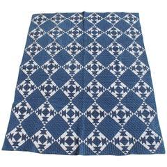 19th Century Blue and White Geometric Quilt
