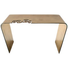 Italian Gold Glass Console Table with Swarovski Strass Crystals