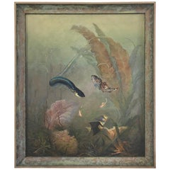 Victorian Era Underwater Seascape Oil on Canvas