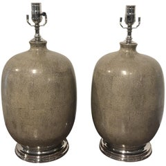 Pair of Shagreen Porcelain Vases, Now as Lamps